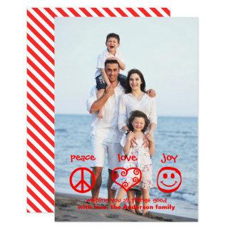 Paz, amor, vertical da alegria - cartão de Natal Convite 8.89 X 12.7cm