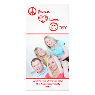 Paz, amor, vertical da alegria - cartões de fotos