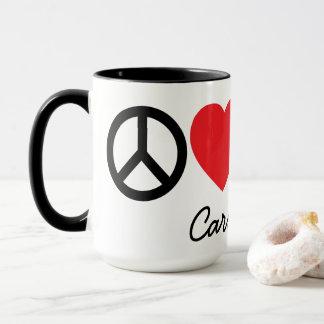 Paz, amor, vinho e caneca personalizada gatos