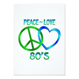 Paz - anos 80 do amor convite 12.7 x 17.78cm