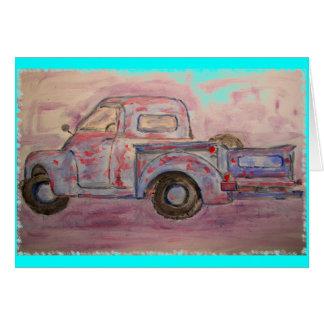 Paz azul do caminhão do Patina na terra Cartão Comemorativo