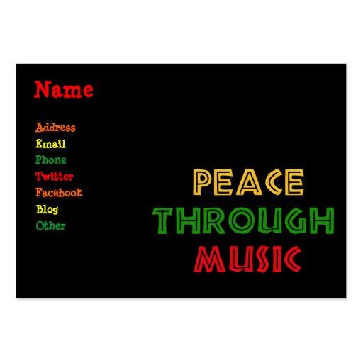 Paz com a música cartões de visita