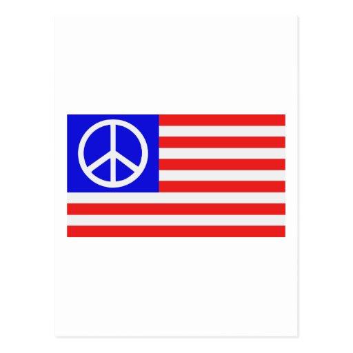 Paz da bandeira dos E.U. Cartao Postal