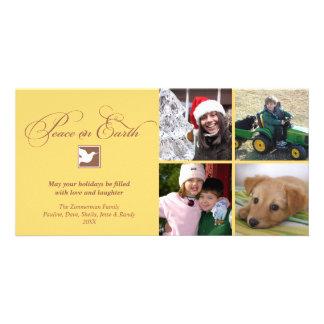 Paz da pomba do marrom amarelo em cartões de natal cartão com foto