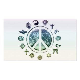 Paz de mundo cartão de visita