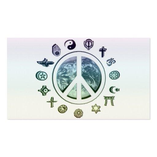 Paz de mundo modelo cartoes de visita