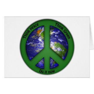 Paz de mundo - verde do mundo cartão