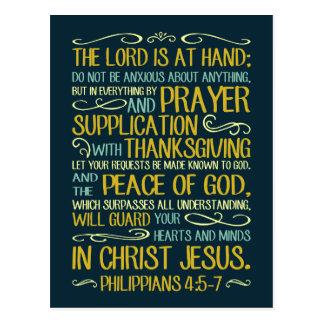 Paz do 4:5 dos Philippians do deus - 7 Cartão Postal