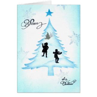 Paz dos flocos de neve no cartão de Natal