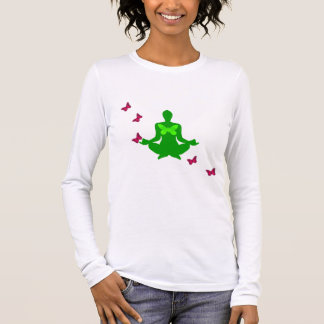 Paz e borboleta - camisas Longo-Sleeved da ioga