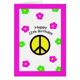 Paz e cartão de aniversário das flores 12o