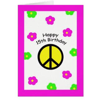 Paz e cartão de aniversário das flores 15o