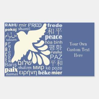 PAZ em muitas etiquetas do costume das línguas