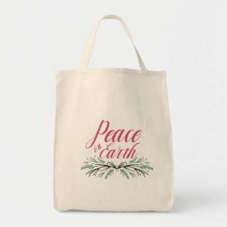 Paz na bolsa de compra reusável da terra