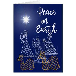 Paz no cartão da terra e de três homens sábios