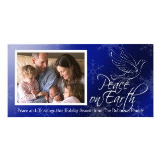 Paz no Natal da pomba do azul da terra Cartão Com Foto