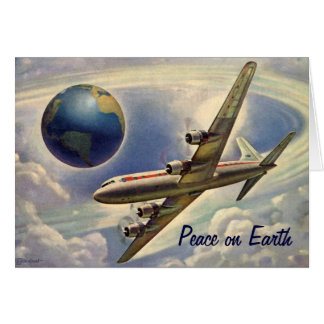 Paz no Natal da terra, mundo do avião do vintage Cartão Comemorativo