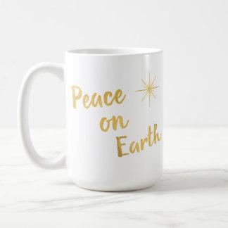 Paz no Natal Goldfoil da terra na caneca branca