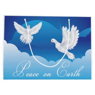 Paz no saco do presente do Natal da terra Sacola Para Presentes Grande