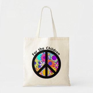 Paz para as crianças bolsas de lona