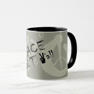 Paz para fora você caneca de café com sinal de paz