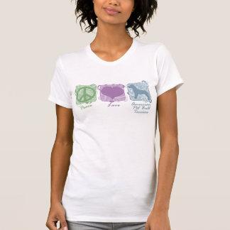 Paz Pastel, amor, e terrier de pitbull americanos Tshirts