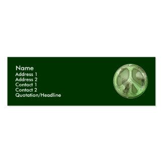 Paz verde no cartão de visita da terra