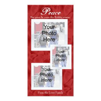 Paz vermelha do White Christmas 3 cartões com Cartões Com Fotos Personalizados