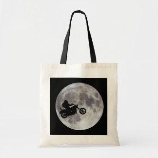 Pé grande, bicicleta grande e uma lua brilhante bolsa tote