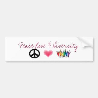 peace_4, corações, diversidade, amor da paz & dive adesivo para carro