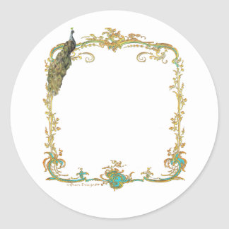 Peacock with Gold Frame Ornate Art Print Round Sticker