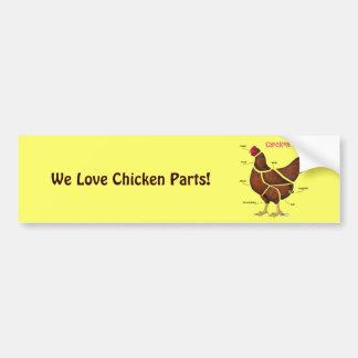 Peças da galinha adesivo para carro