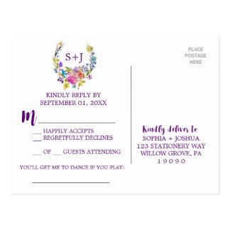 Pedido floral RSVP da canção da grinalda do Cartão Postal