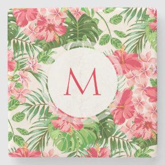 Pedra personalizada W C do monograma da flor do Porta Copos De Pedra