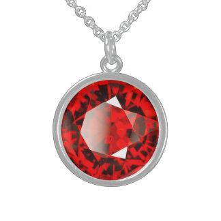 Pedra preciosa vermelha janeiro Birthstone da Colar De Prata Esterlina