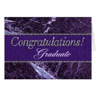 Pedra roxa graduada das felicitações cartão comemorativo