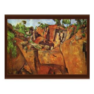 Pedreira Bibémus por Paul Cézanne a melhor qualid Cartao Postal