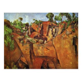 Pedreira Bibémus por Paul Cézanne a melhor qualid Cartoes Postais