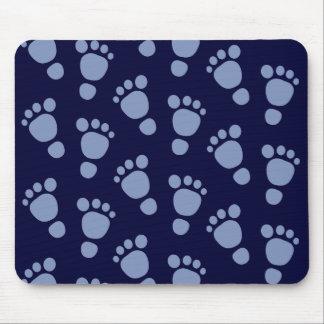 Pegada do bebê azul é um menino! Teste padrão Mouse Pad