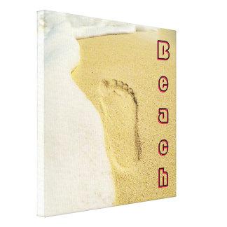 Pegada na areia impressão em canvas