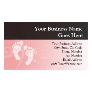 Pegadas cor-de-rosa/brancas do bebê cartões de visita