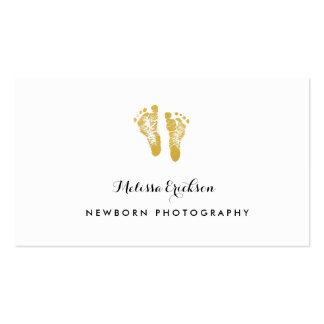 Pegadas elegantes do ouro do falso do fotógrafo cartão de visita