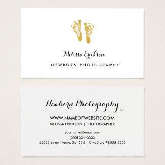 Pegadas elegantes do ouro do falso do fotógrafo cartão de visitas