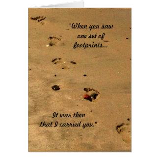 Pegadas na areia cartão