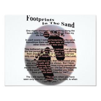 Pegadas na areia convite 10.79 x 13.97cm
