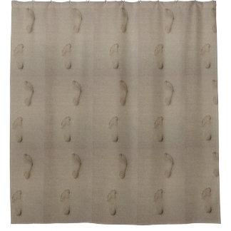 Pegadas na areia cortina para chuveiro