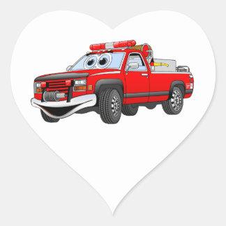 Pegare desenhos animados do carro de bombeiros adesivo coração