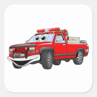 Pegare desenhos animados do carro de bombeiros adesivo em forma quadrada