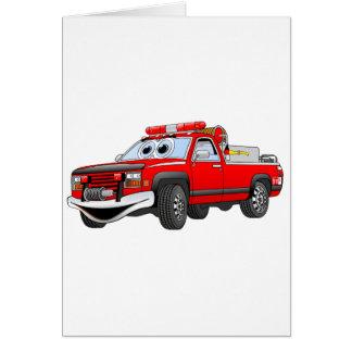 Pegare desenhos animados do carro de bombeiros cartão