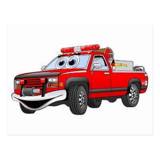Pegare desenhos animados do carro de bombeiros cartão postal
